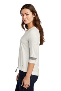 CAPELLA New Era ® Ladies Tri-Blend 3/4-Sleeve Tee - Fan White Solid/ Shadow Grey