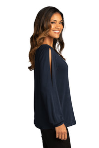 CAPELLA ALUMNI Ladies Luxe Knit Jewel Neck Top - River Blue Navy