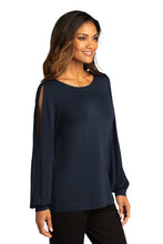 Load image into Gallery viewer, CAPELLA ALUMNI Ladies Luxe Knit Jewel Neck Top - River Blue Navy