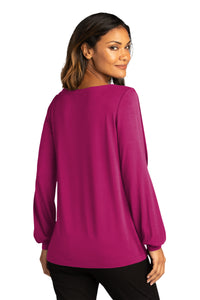 CAPELLA Ladies Luxe Knit Jewel Neck Top - Wild Berry