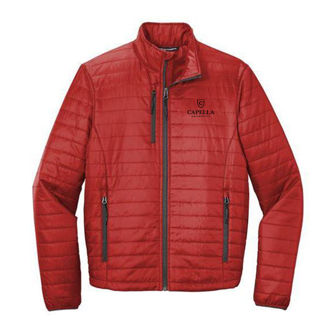 Port Authority ® Packable Puffy Jacket-Fire Red/ Graphite