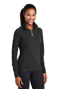 Sport-Tek® Ladies Sport-Wick® Textured 1/4-Zip Pullover - Black