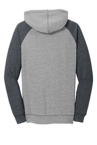 District ® Women's Lightweight Fleece Raglan Hoodie - Heathered Grey/ Heathered Charcoal