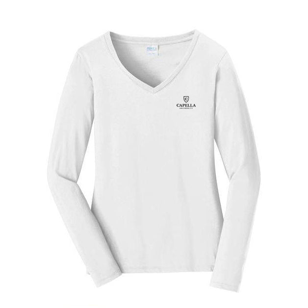 Port & Company® Ladies Long Sleeve Fan Favorite™ V-Neck Tee - White