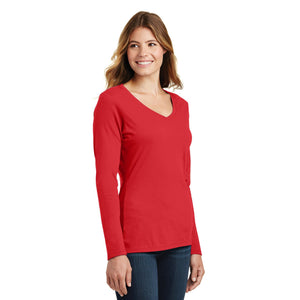 Port & Company® Ladies Long Sleeve Fan Favorite™ V-Neck Tee - Bright Red