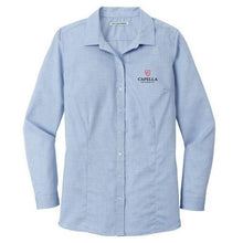 Load image into Gallery viewer, Port Authority ® Ladies Pincheck Easy Care Shirt - Blue Horizon/ White