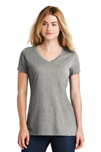 New Era® Ladies Heritage Blend V-Neck Tee - Light Graphite Twist