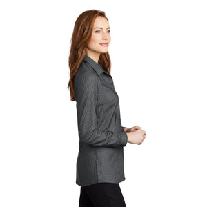 Port Authority ® Ladies Pincheck Easy Care Shirt - Black/ Grey Steel