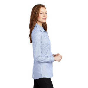 Port Authority ® Ladies Pincheck Easy Care Shirt - Blue Horizon/ White