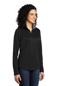 Port Authority ® Ladies Silk Touch ™ Performance 1/4-Zip - Black/ Steel Grey