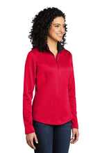 Load image into Gallery viewer, Port Authority ® Ladies Silk Touch ™ Performance 1/4-Zip - Red/ Black