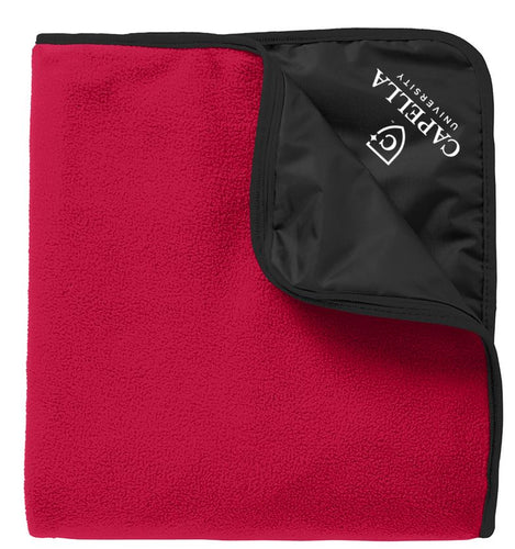 CAPELLA Fleece & Poly Travel Blanket - Rich Red/ Black