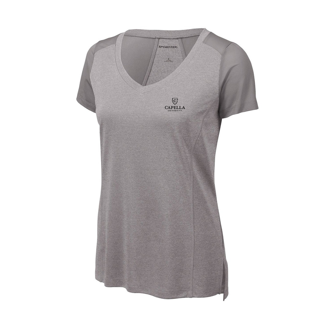 Sport-Tek ® Ladies Endeavor Tee - Light Grey Heather/ Light Grey