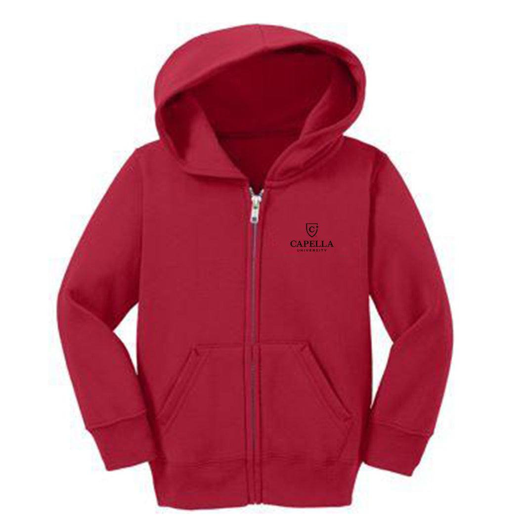 Port & Company® Toddler Core Fleece Full-Zip Hooded Sweatshirt-RED
