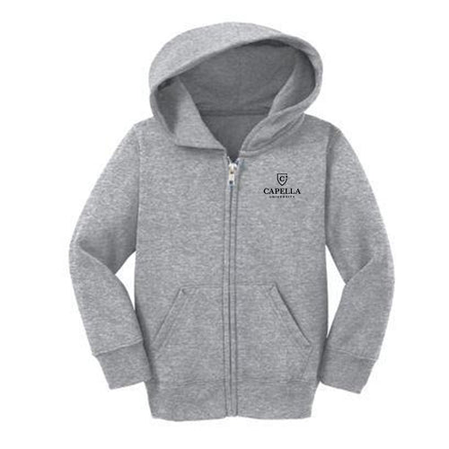Port & Company® Toddler Core Fleece Full-Zip Hooded Sweatshirt-ATHLETIC HEATHER