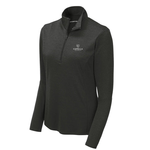 Sport-Tek ® Ladies Endeavor 1/4-Zip Pullover - Black Heather