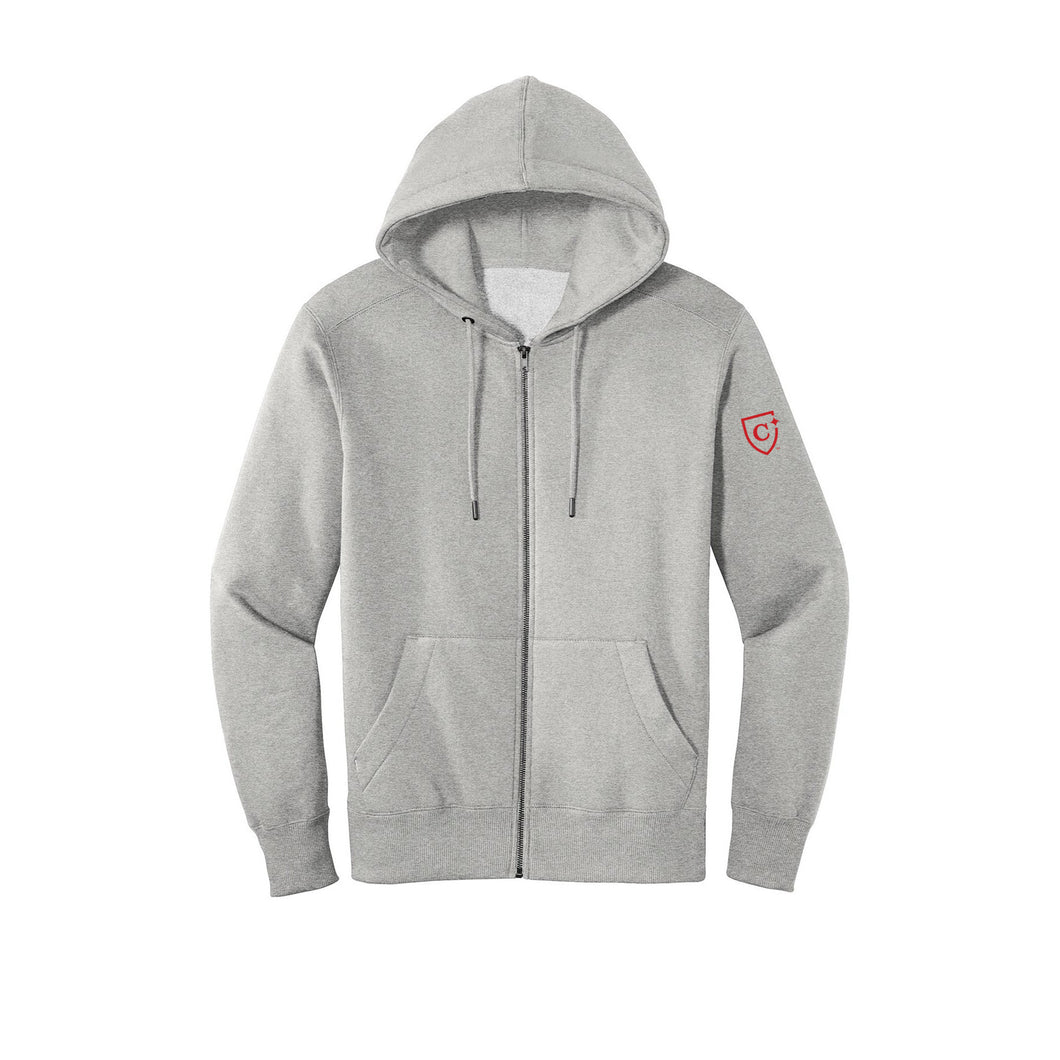District ® Perfect Weight ® Fleece Full-Zip Hoodie - Heathered Steel