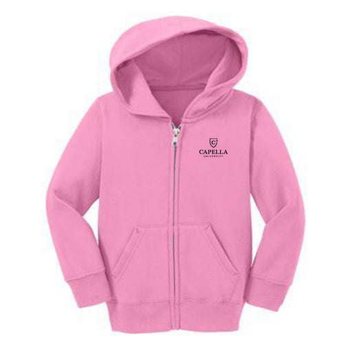 Port & Company® Toddler Core Fleece Full-Zip Hooded Sweatshirt-PINK