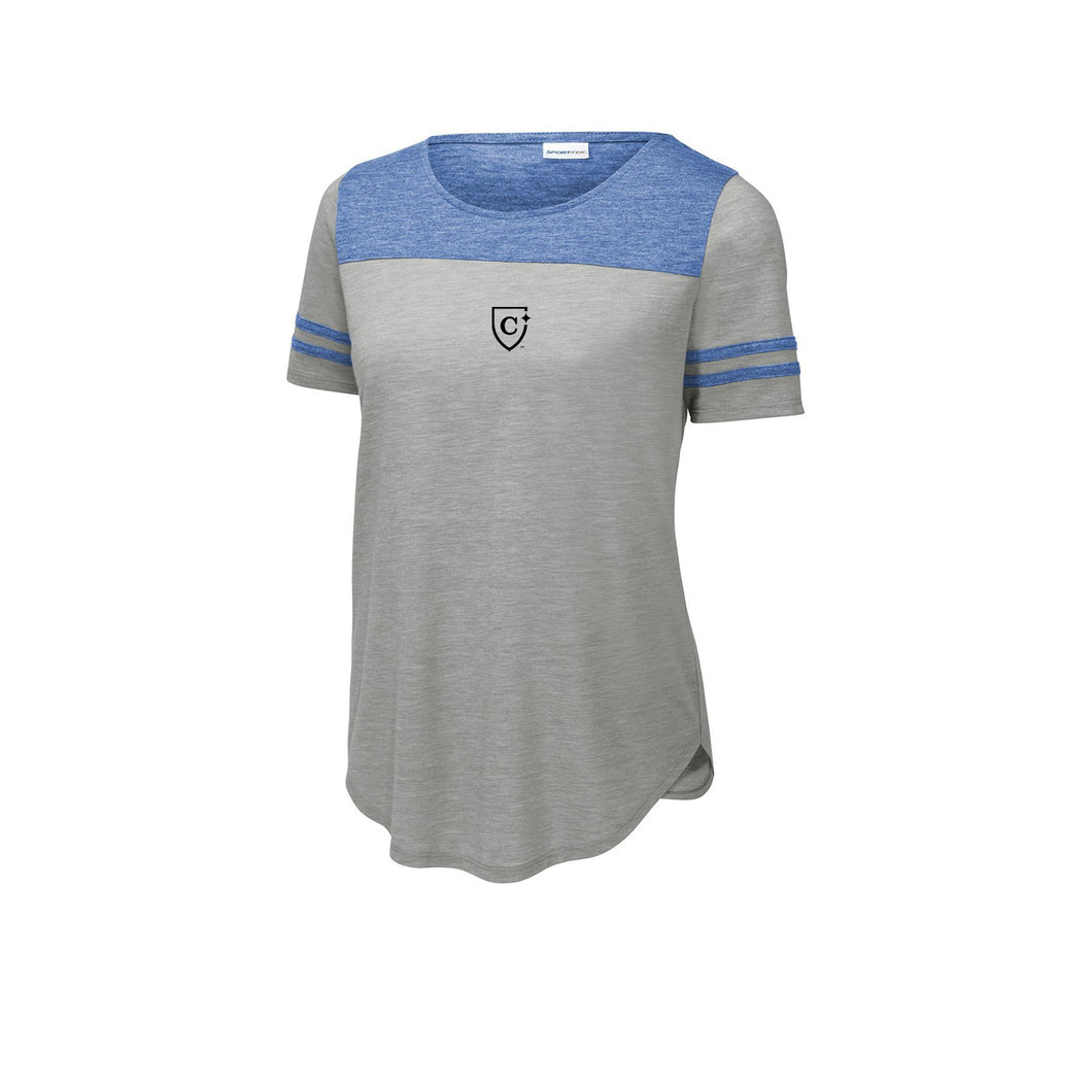 Sport-Tek ® Ladies PosiCharge ® Tri-Blend Wicking Fan Tee - True Royal Heather/ Light Grey Heather