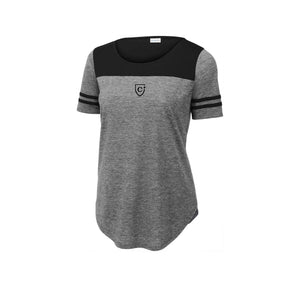 Sport-Tek ® Ladies PosiCharge ® Tri-Blend Wicking Fan Tee - Black Triad Solid/ Dark Grey Heather