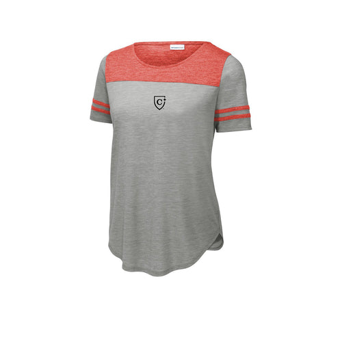 Sport-Tek ® Ladies PosiCharge ® Tri-Blend Wicking Fan Tee - True Red Heather/ Light Grey Heather