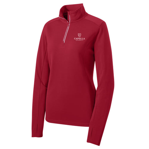 Sport-Tek® Ladies Sport-Wick® Textured 1/4-Zip Pullover - Deep Red