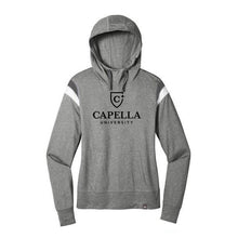 Load image into Gallery viewer, New Era ® Ladies Heritage Blend Varsity Hoodie - Shadow Grey Heather/ Graphite/ White
