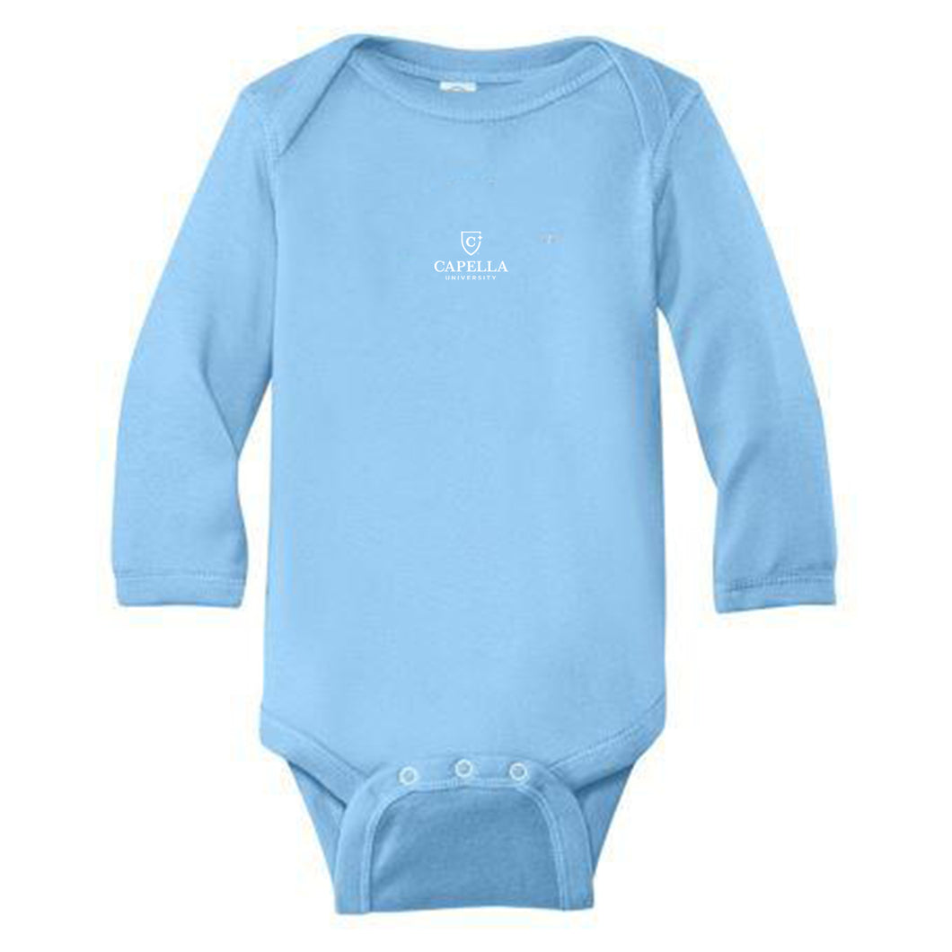 Rabbit Skins™ Infant Long Sleeve Baby Rib Bodysuit-BLUE