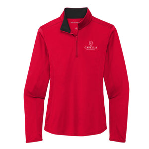 Port Authority ® Ladies Silk Touch ™ Performance 1/4-Zip - Red/ Black