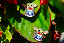 Load image into Gallery viewer, Baby Yoda Fluff Enamel Pin