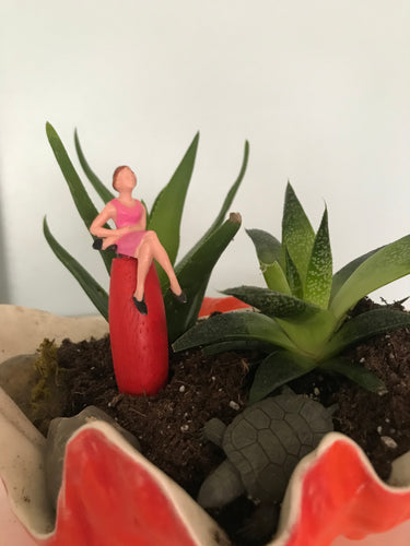 Lady in a Pink Dress Garden Gnome