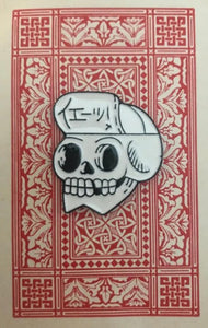 Cycling Cap Skull on Vintage Card