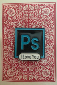 PS I Love You Enamel on Vintage Card