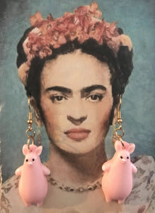 Frida wearing Pig Earrings