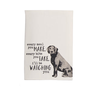 Mudpie Watching Dog Watercolor Towel