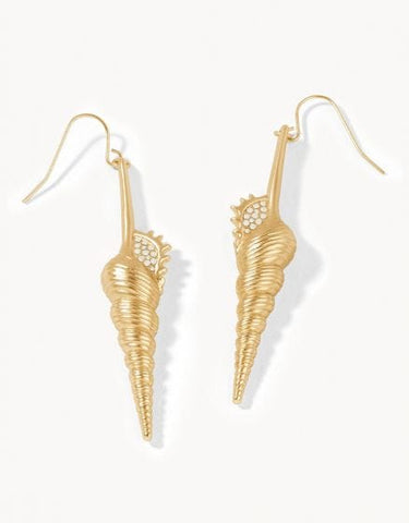 657433 Corkscrew Shell Earrings White Opal