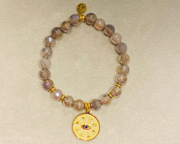 Mystic Grey Agate Protection Gold