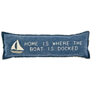 Sailboat Lake Applique Pillow