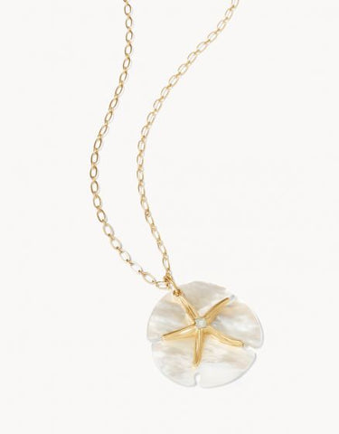 "663328 Star Sand Dollar Necklace 32"" Pearlscent"