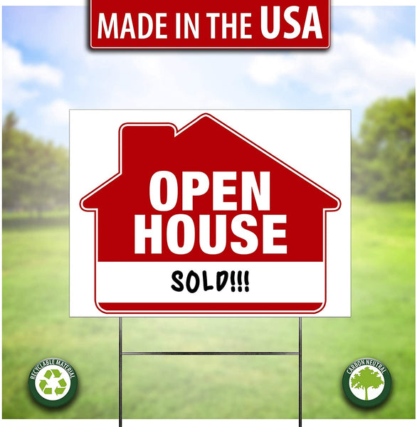 """Open House Yard Sign with """"sold"""" message on it"""