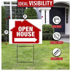 Open House Yard Sign With Markup