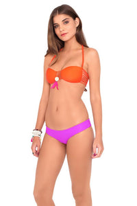 VERANO DE RUMBA - Suspended Strings Bandeau Top & Reversible Buns Out Bottom • Purple Ocean