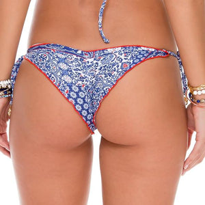 NAUGHTY GIRL - Wavey Ruched Back Brazilian Tie Side Bottom