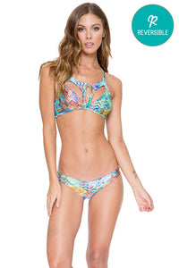CAYO HUESO SO CLOSE - Victoria Cutout Top & Reversible Zig Zag Open Side Moderate Bottom • Multicolor