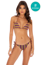 JUNGLE GLOW - Triangle Top & Wavey Ruched Back Tie Side Bottom • Multicolor