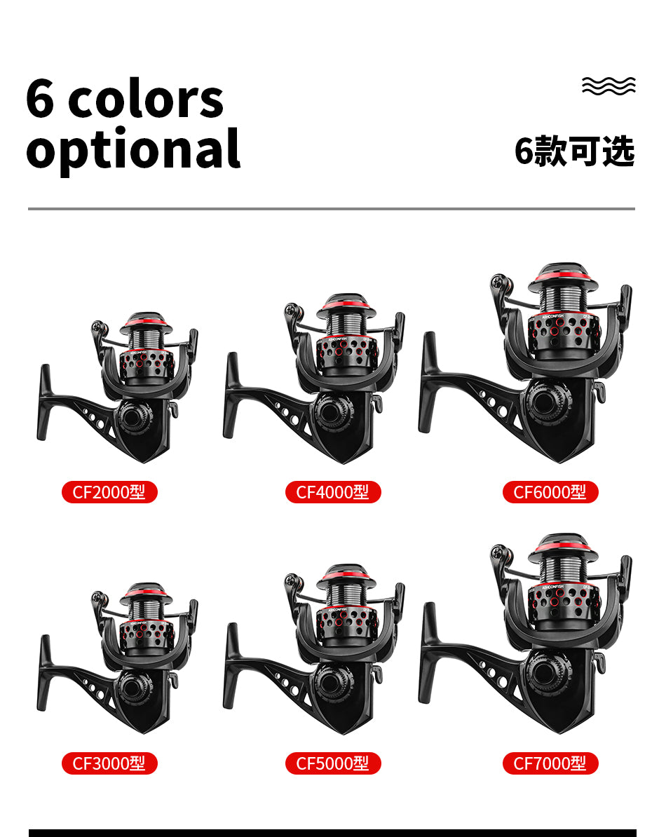 Reels Fishing Reel carp 8BB All Metal Spool 5.0:1 gear ratio Spinning Reel 8KG Max Drag coils 2000-7000H wheels for saltwater