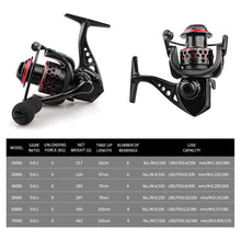 Load image into Gallery viewer, Reels Fishing Reel carp 8BB All Metal Spool 5.0:1 gear ratio Spinning Reel 8KG Max Drag coils 2000-7000H wheels for saltwater