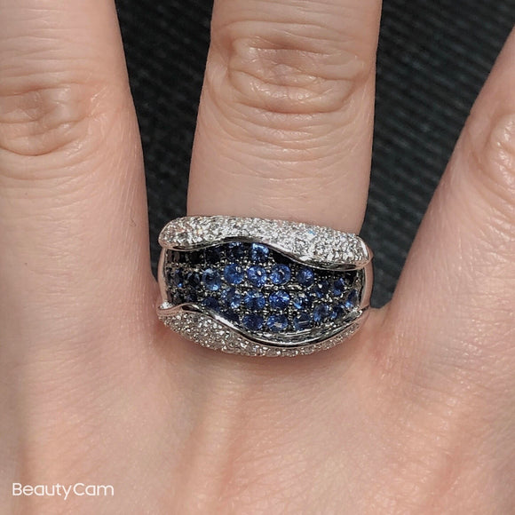 One of a Kind, 18K white gold Blue Sapphire and diamond ring