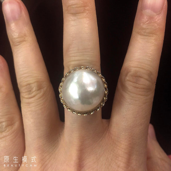 South Sea Mabi pearl ring set in 18K yellow gold