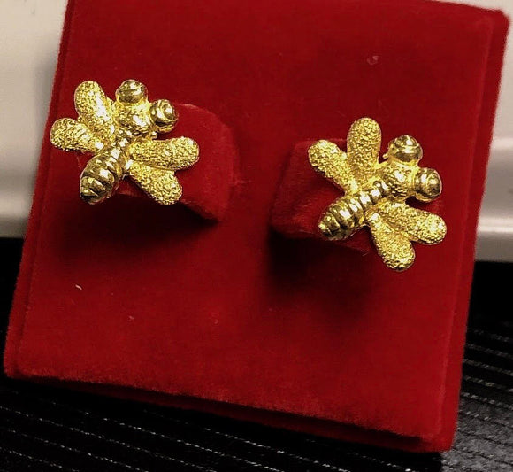 4.9g Pure 999.9 24K yellow gold Bumble-Bee Stud-earrings